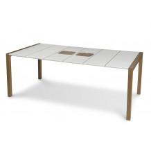 Tavolo da giardino Sunday 190 cm giunti bianchi lin - bianco ghiaccio tagliere di legno