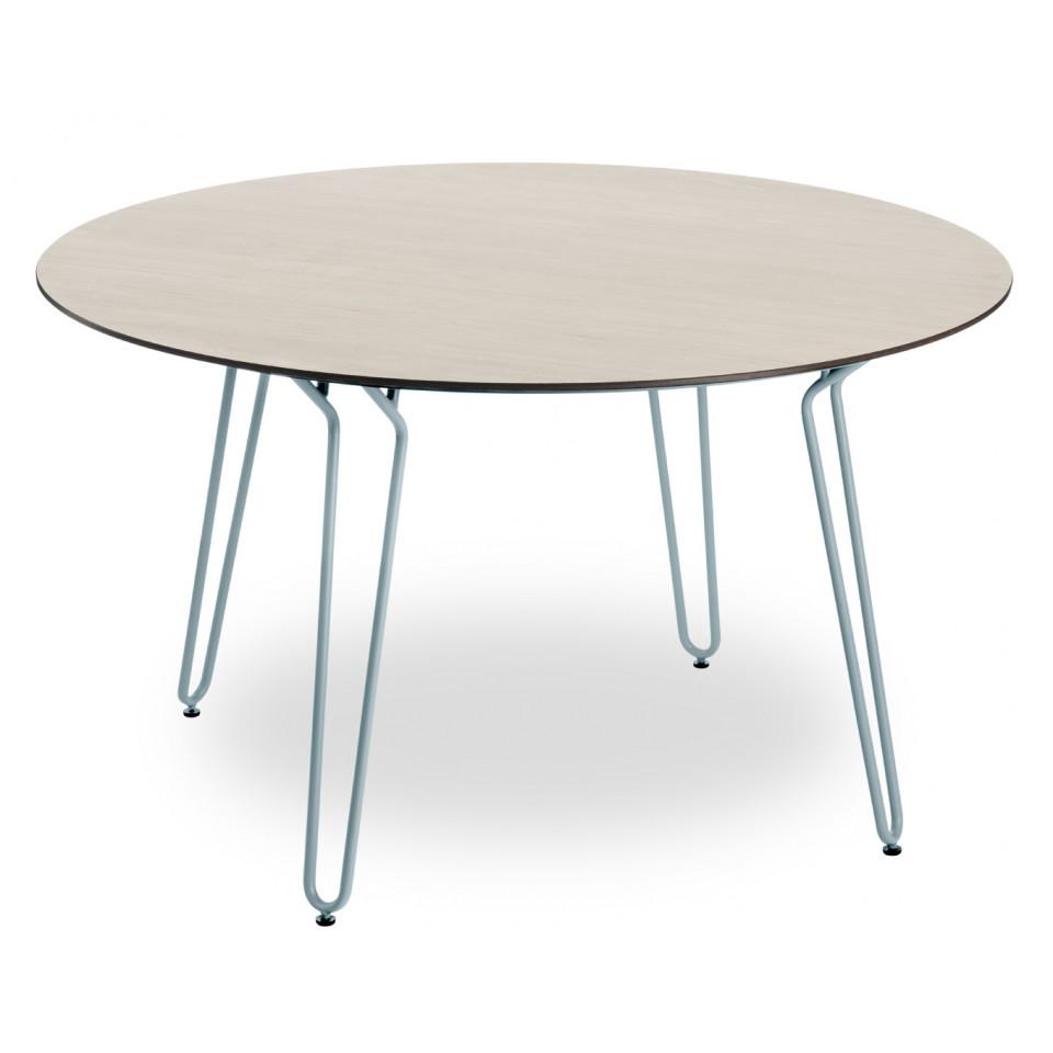 Dimensioni Tavolo 6 Persone.Tavolo Ramatuelle O130 Cm Gambe Blu Piano Aspetto Legno Naturale