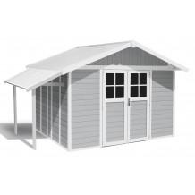 Capanno da giardino Lodge 11 m² grigio chiaro